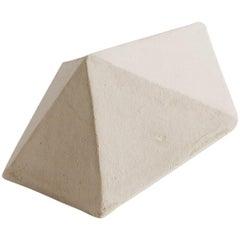 'J13' Geometric Ceramic Sculpture with White Finish