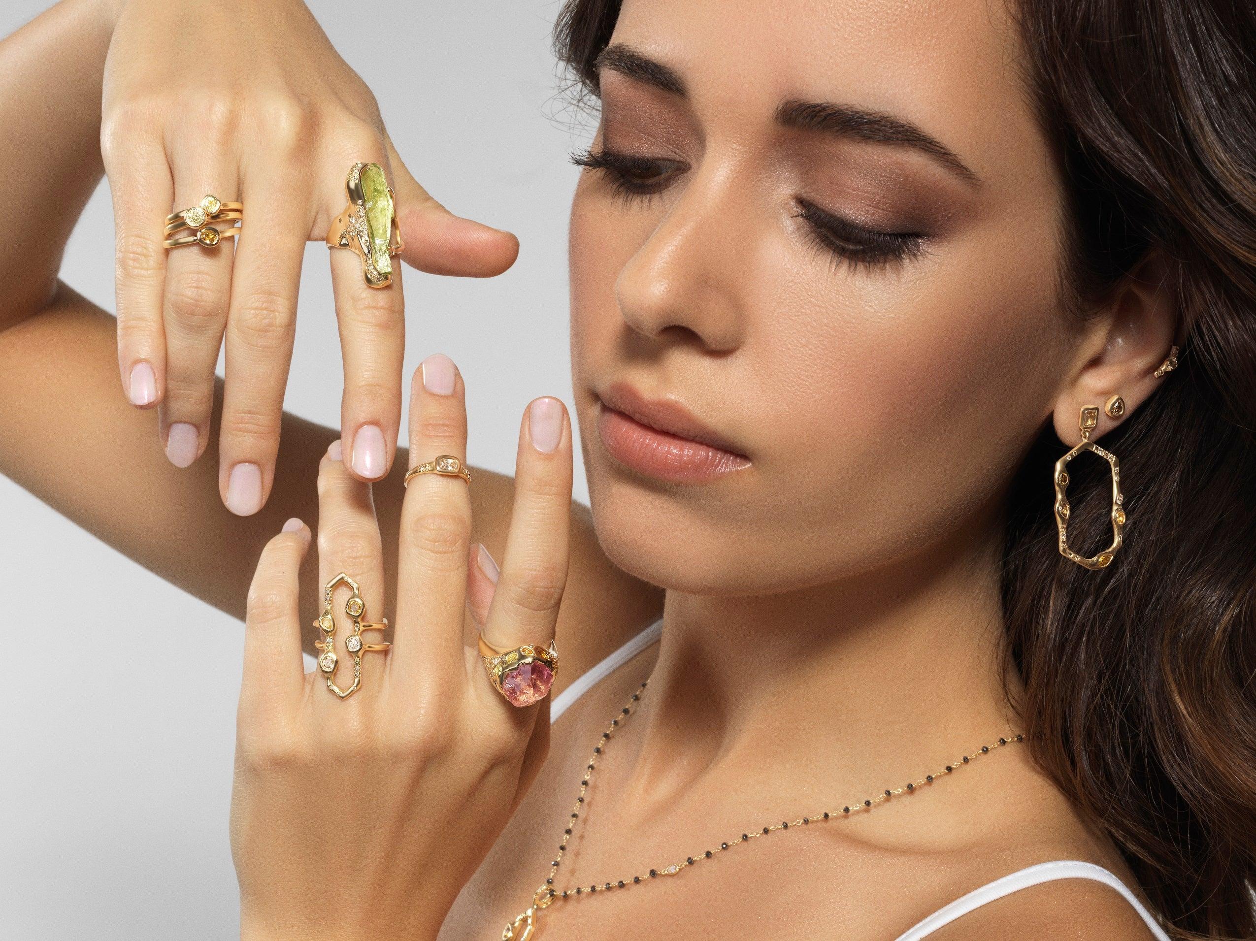 Debra Navarro Garnet And Diamond 18k Gold Band Stack Ring 2 09 Carat Spessartine For Sale At 1stdibs