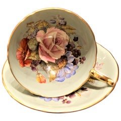 J.A. Bailey Signed Aynsley Bone China Pink Cabbage Rose Tea Cup & Saucer Set