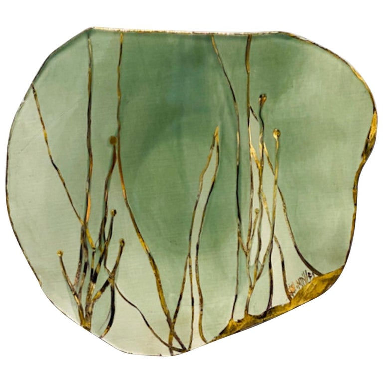 Jaap Wieman Seabed Handmade Ceramic Plate in Celadon and Gold For Sale