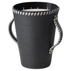 Jaar, Black Leather Candleholder, Sweet Cinnamon Scented Candle