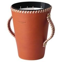 JAAR, Cognac Leather Candleholder, Spring Flowers & Citrus Scented Candle 123 Oz