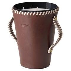 JAAR, Dark Brown Leather Candleholder, Spring Flowers & Citrus Scented 123 Oz