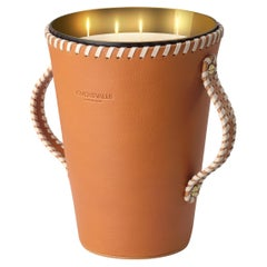 Jaar Natural Tan Leather Candleholder, Sweet Cinnamon Scented Candle 123 Oz
