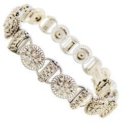 Jabel 18 Karat White Gold and Diamond Full Section Bracelet