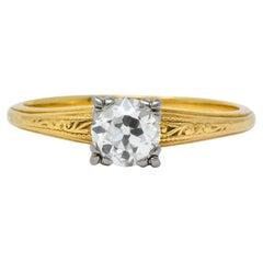 Jabel 1920s 0.90 Carat Diamond 18 Karat Gold Engagement Ring