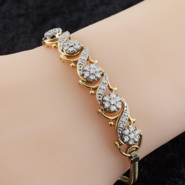 Gorgeous Bracelet by Jabel Features 5 F58 Links with Diamond Florets and Ribbons Width of Links = 9 mm Total Length = 7.5