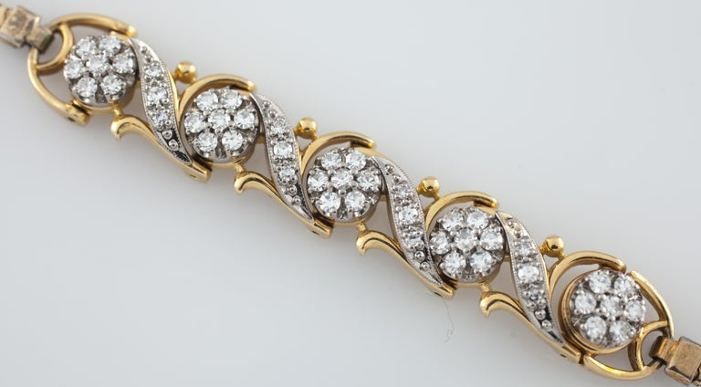 Jabel Add-A-Link Diamond 5 Link and Snake Chain 18 Karat Yellow Gold Bracelet In Excellent Condition For Sale In Sherman Oaks, CA