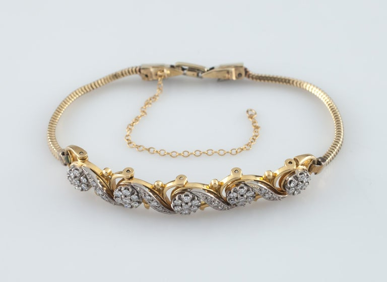 Jabel Add-A-Link Diamond 5 Link and Snake Chain 18 Karat Yellow Gold Bracelet For Sale 1