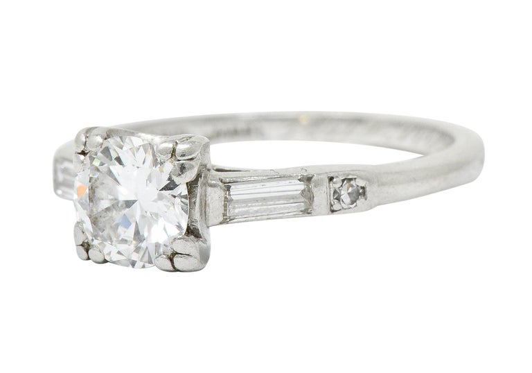 Jabel Late Art Deco 0.83 Carat Diamond Platinum Engagement Ring For Sale 1