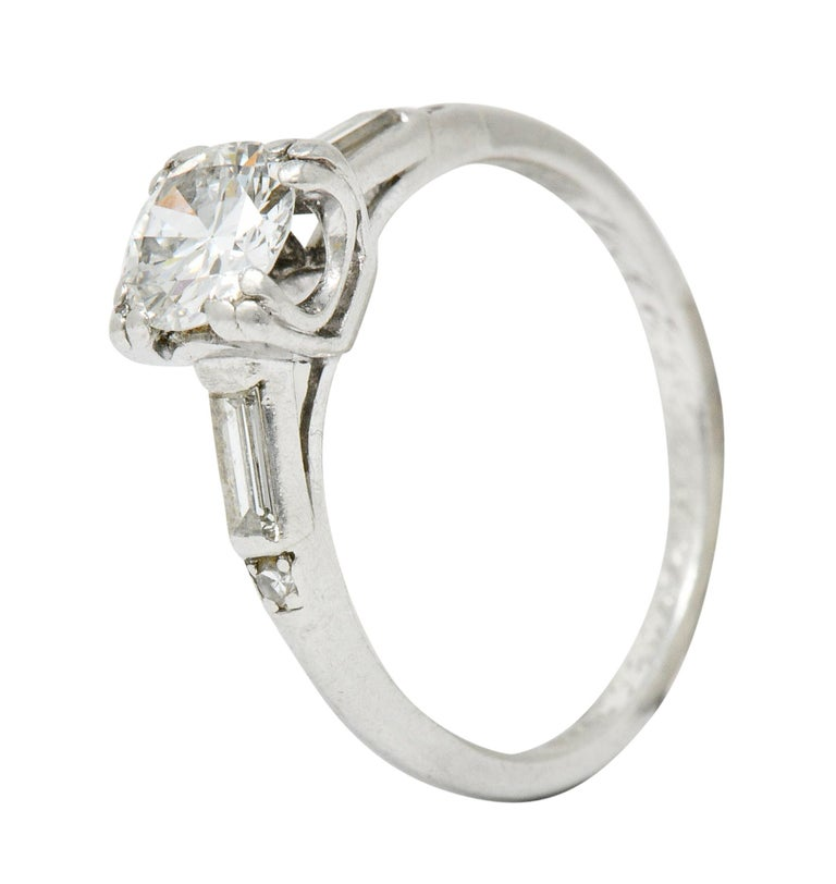 Jabel Late Art Deco 0.83 Carat Diamond Platinum Engagement Ring For Sale 3