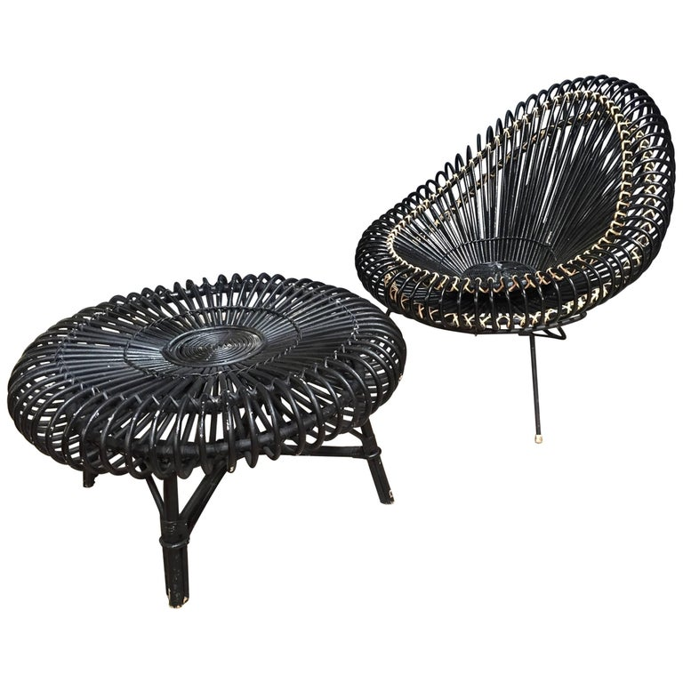 J.Abraham and Dirk Jan Rol Lounge Chair 'b' with Coffee Table in Rattan, 1950s