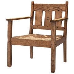 Jac Van Den Bosch Attributed 't Binnenhuis Oak and Rope Armchair, circa 1910