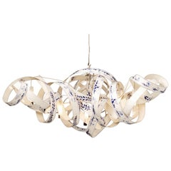 Jacco Maris Montone Oval Six-Light Chandelier in Hand-Painted Delft Blue Finish