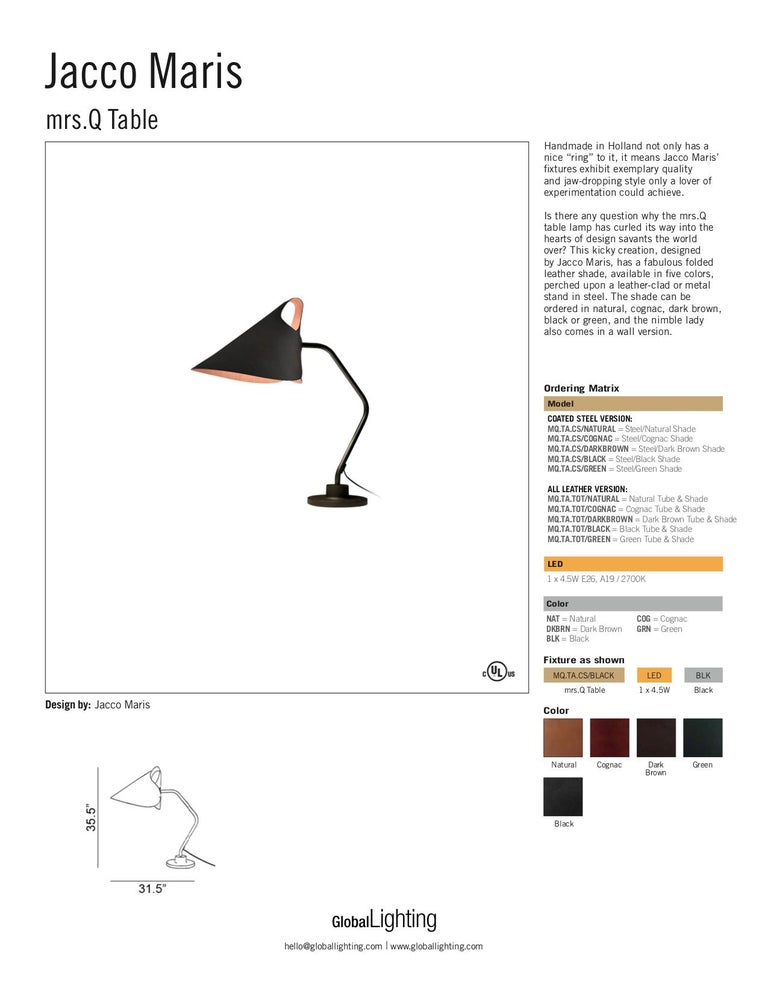 Modern Jacco Maris Mrs.Q Table Lamp in Coated Steel Body with Cognac Shade For Sale