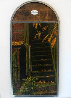 The stairs - XXI Century, Contemporary Oil Painting, Collage, Warm Tones