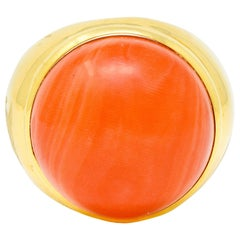 Jacent Vintage Coral Diamond 18 Karat Gold Unisex Cabochon Gemstone Ring