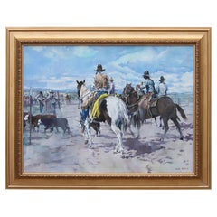 Western Corral Scene with Cow Boys on Horses