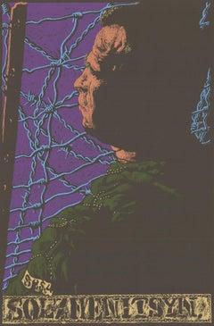 1971 After Jack Beal 'Solzhenitsyn' Vintage Green,Purple,Blue USA Serigraph
