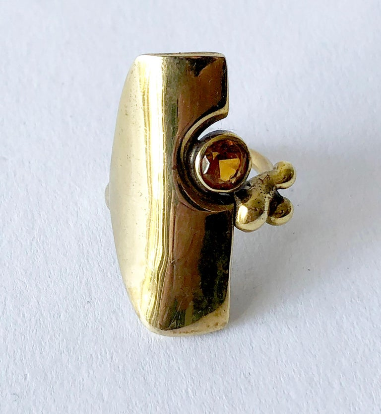 Jack Boyd Bronze Citrine San Diego Modern Studio Ring In Good Condition For Sale In Los Angeles, CA