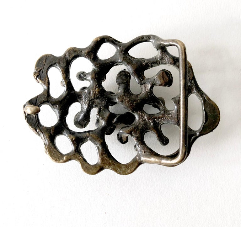 Jack Boyd Bronze San Diego Modernist Spore Belt Buckle In Good Condition For Sale In Los Angeles, CA
