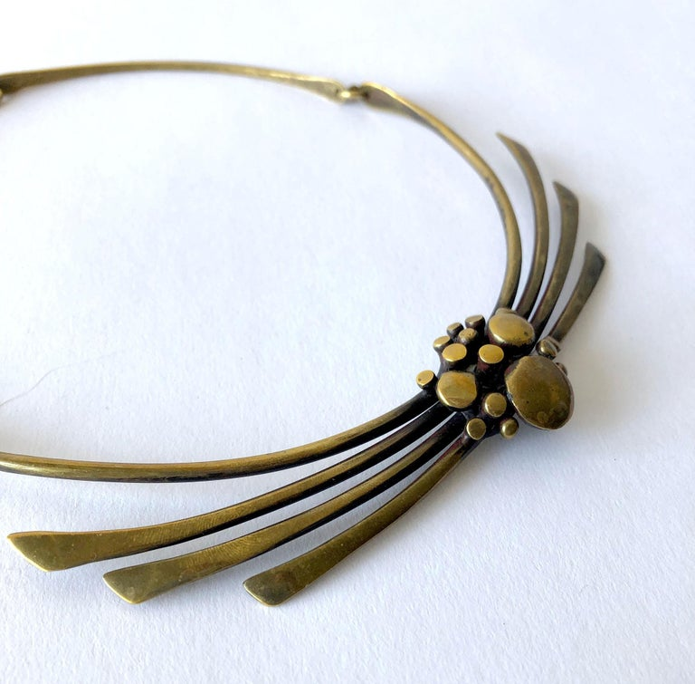 1970's organic modernist bronze necklace created by Jack Boyd of San Diego, California.  Necklace measures 17.5