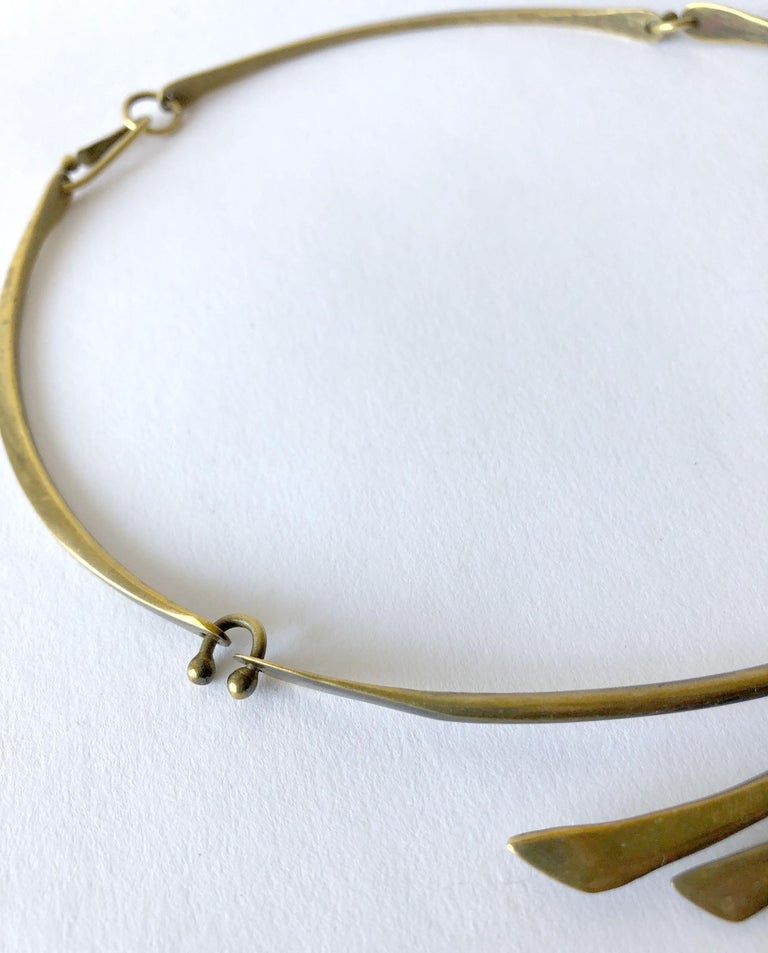 Jack Boyd Bronze San Diego Modernist Spray Necklace In Good Condition For Sale In Los Angeles, CA