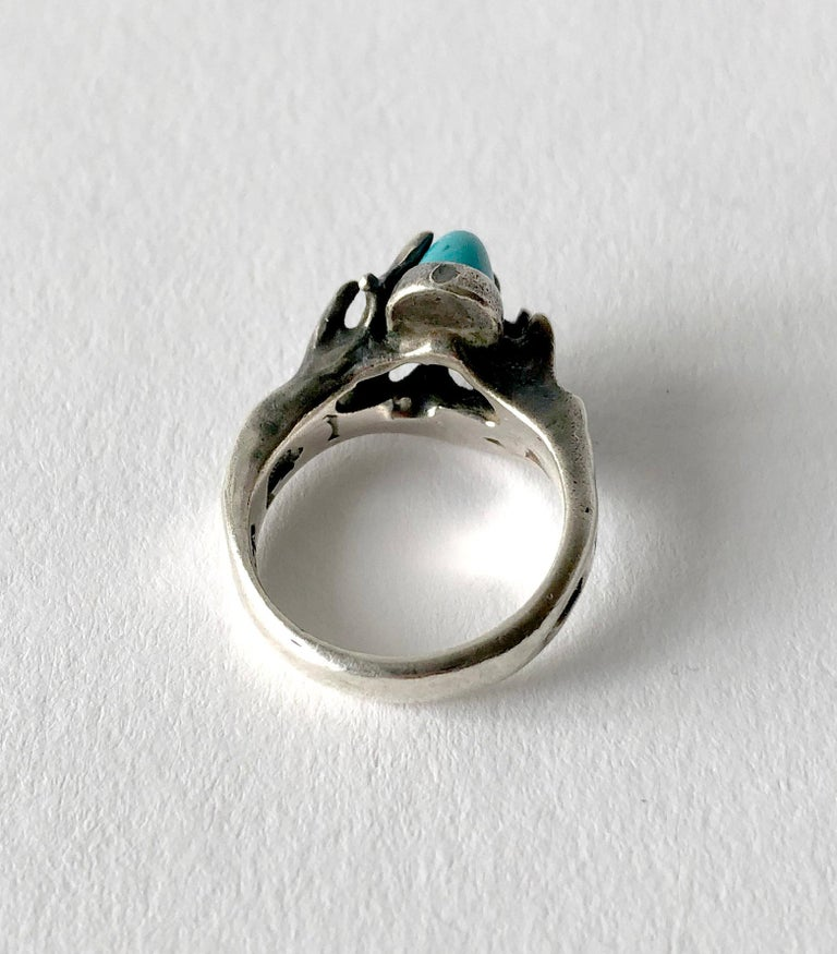 Jack Boyd Sterling Silver Turquoise San Diego Modernist Ring In Good Condition For Sale In Los Angeles, CA