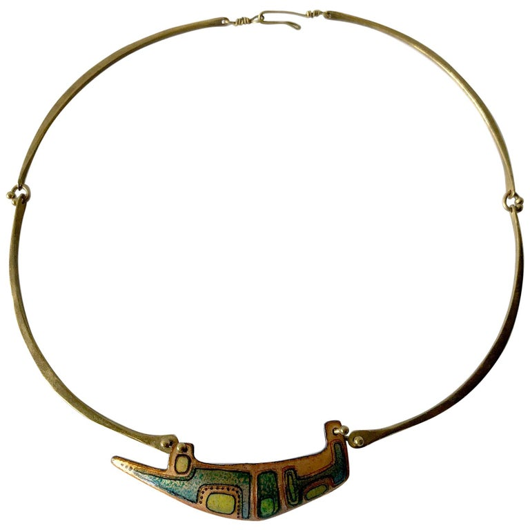 Jack Boyd Studio Enamel over Bronze San Diego Modernist Necklace For Sale
