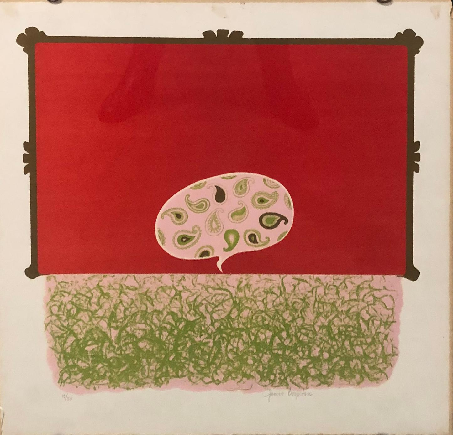 Untitled Red and Green Abstract Serigraph Silkscreen Print #12/20