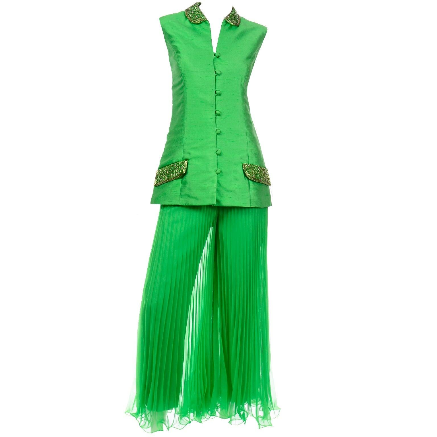 Jack Bryan by Dupuis Green Evening Outfit Pleated Palazzo Pants & Beaded Jacket