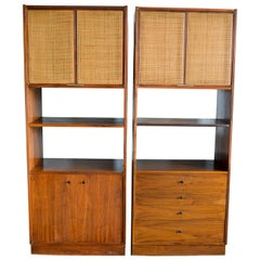 Jack Cartwright for Founders Furniture Walnut and Cane Cabinets, circa 1960