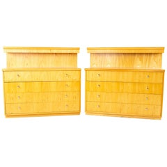 Jack Cartwright for Founders Mid Century 4-Drawer Shallow Dresser Chest, Pair