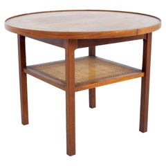 Jack Cartwright for Founders Mid Century Round Side End Table with Cane Shelf