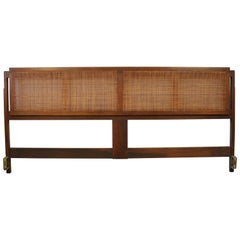 Jack Cartwright for Founders Walnut and Cane King Size Headboard