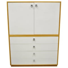 Jack Cartwright for Founders White Mid-Century Modern Tall Chest Dresser Cabinet