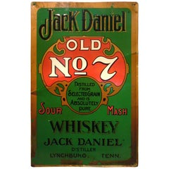 Jack Daniels Old Number 7 Whiskey Tin Advertising Bar Sign / 1950s Midcentury