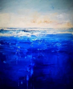 """Day Break"", Cornish seascape in crystal clear colors, Tonalist, oil on canvas"