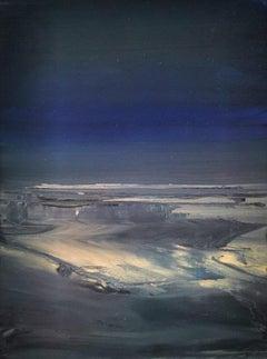 """Gwenver Dusk"", dreamy Cornish seascape, Tonalist, oil on canvas"