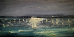 """""""Harbour Lights"""", seascape at dusk with reflected lights, original oil on canvas"""