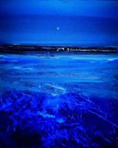 """Morning Moon"", Cornish shoreline before sunrise, breaking waves, Tonalist"