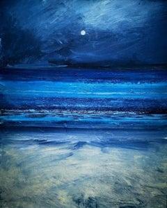 """Overwhelming Light"", Moonlit Cornish seascape, Tonalist, oil on canvas"