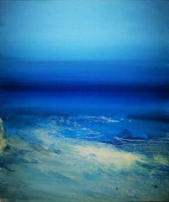 """Tranquil Morning At Porthmeor"", Cornish shoreline, Tonalist, oil on canvas"