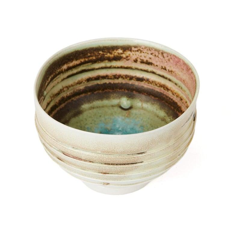 Jack Doherty Studio Pottery Porcelain Ribbed Bowl For Sale 1