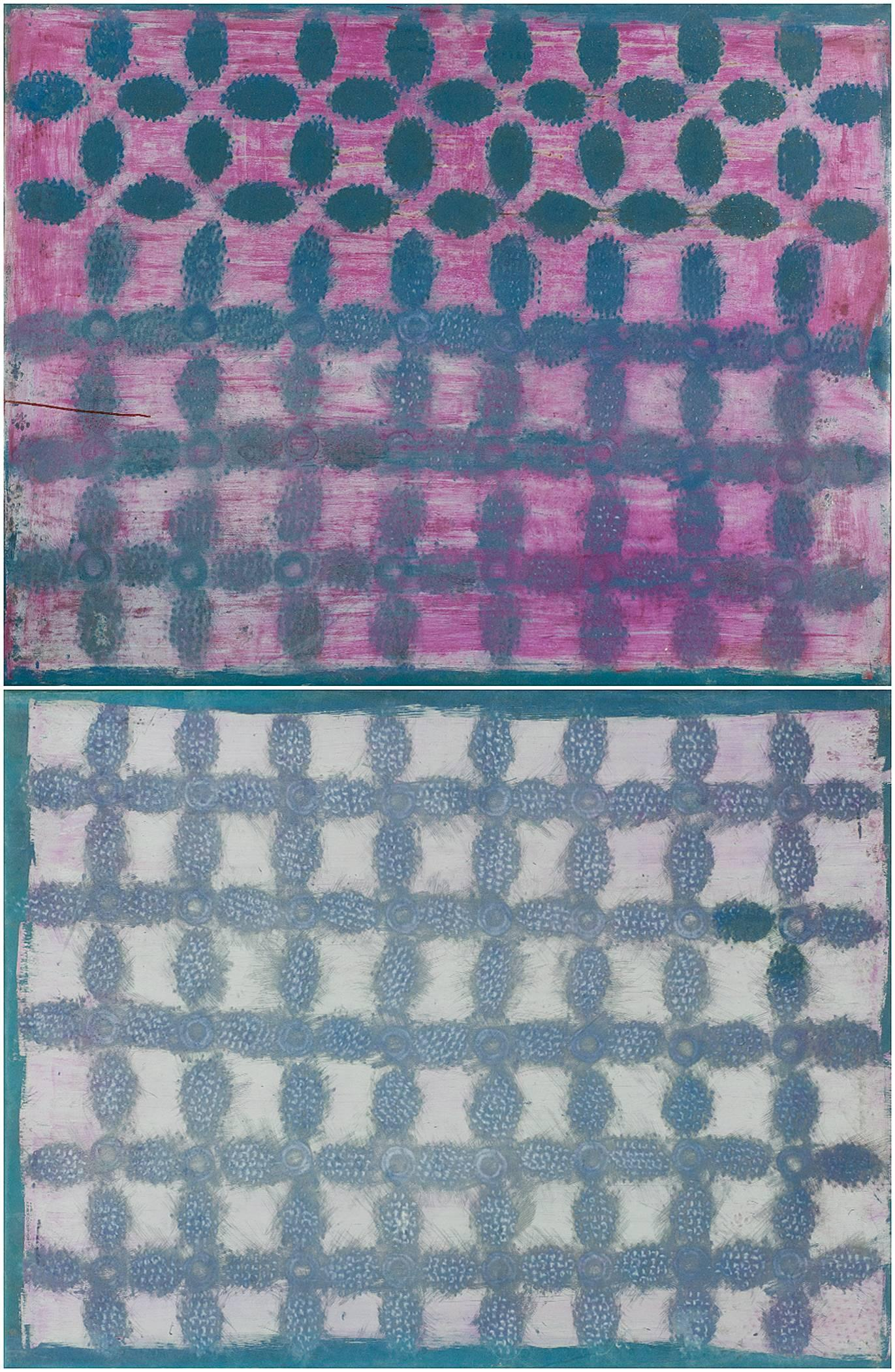 Double Panel Monumental Pink and Purple Dyed and Painted Stretched Rubber Canvas