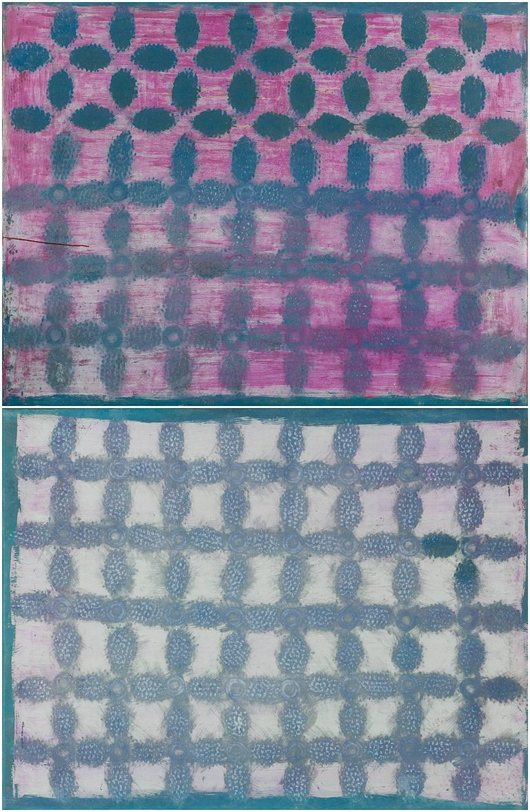 Double Panel Monumental Pink and Purple Dyed and Painted Stretched Rubber Canvas - Mixed Media Art by John (Jack) E. Drummer