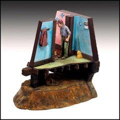 Jack Earl Full Round Glazed Ceramic Sculpture Signed Painting Portrait Artwork