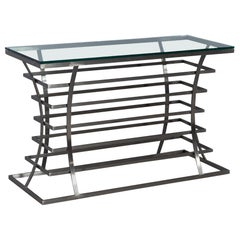 Jack Fhillips Steel and Glass Console Table