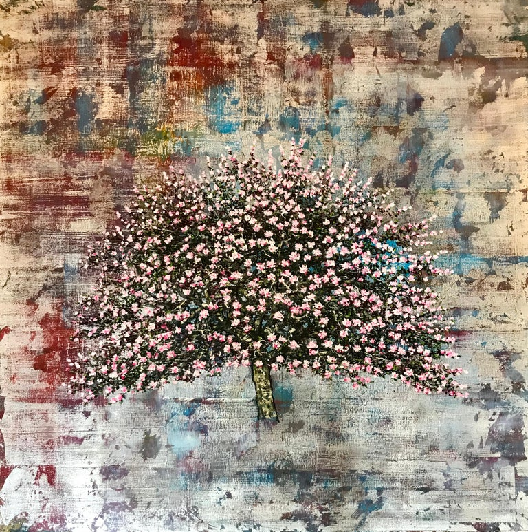 An original, signed painting by award winning British contemporary artist, Jack Frame.  'Eve' is a mixed media painting incorporating silver leaf and oils on silk, to create a stunning abstract texture. The painting is stretched and mounted on a