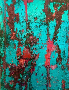 Matrix - Teal and Scarlet - Contemporary Abstract Painting by Jack Frame